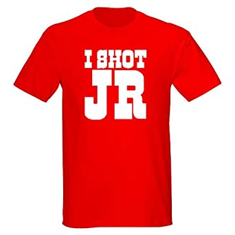 I Shot JR Unisex T-shirt Various Sizes and Colours (Small, Red T-shirt White Print)
