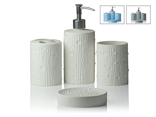 4 Piece Bathroom Accessories Set | Modern Concrete | With Soap Or Lotion  Dispenser, Toothbrush Holder, Tumbler And Soap Dish | Premium Metal Pump |  Matte ...