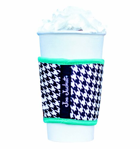 Joe Jacket® - Reusable coffee cup sleeve - Beverage insulator for hot and cold cups, plastic and steel tumblers - Black houndstooth