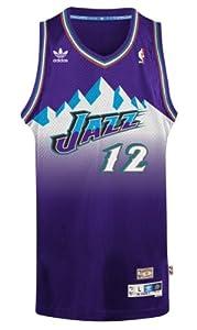 John Stockton Utah Jazz Adidas NBA Throwback Swingman Mountains Jersey - Purple by adidas