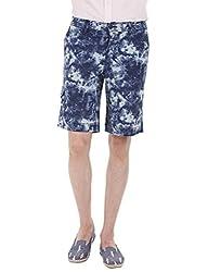 Zobello Men's Printed Summer Twill Shorts(31098G_Blue Ink Splash_38)