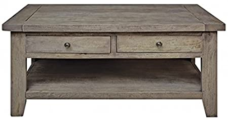 ANTIQUE STYLE DISTRESSED DARK WOOD EFFECT 4 DRAWER COFFE TABLE - OUTLAND RANGE (ASB495) ** FULL RANGE OF MATCHING FURNITURE IS AVAILABLE
