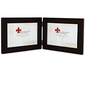 Lawrence Frames Walnut Wood 6 by 4 Hinged Double Picture Frame