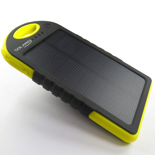 Solar Phone Charger; Solario™ Cell Phone Portable Charger 5000Mah Power Bank And Travel Charger. Utilizing Both Solar And/Or Electrical Energy To Fully Charge Wireless Devices On The Go. Shockproof, Dustproof & Rainproof Provides The Freedom To Travel Any