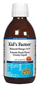 Natural Factors Kid's Factors Balanced Omega 3-6-9 Extreme Peach Liquid, 8-Ounce