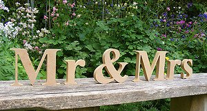 Cute and Curvy Brides Fab Wooden Freestanding Just Married Mdf Wedding Letters - 18mm