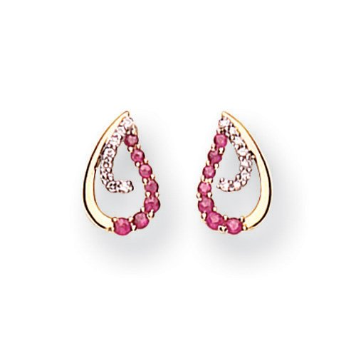 9 Carat Yellow Gold Diamond and Ruby Teardrop Earrings