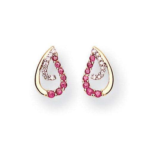 9 Carat Yellow Gold Diamond and Ruby Teardrop Earrings