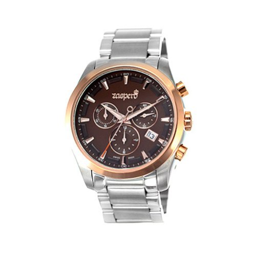 [ Zaspero ] New Stainless-Steel Men'S Wristwatch Silver_Brown Dial Sg301-03