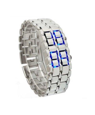 Liroyal Blue Led Digital Lava Iron Style Metal Sports Watch