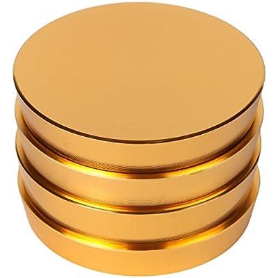 "Zip Grinders - Pagoda Tower Spice and Herb Grinder - Four Piece with Pollen Catcher - Premium Grade Aluminum (2.5"", Gold) by Zip Grinders"
