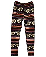 HOT Womens Ladies Soft Casual Warm Knitted Colorful Crystal Snowflake Pattern Fashion Leggings Tights Pants Trousers