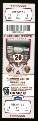 2013 Florida State v Syracuse Football Ticket National Champs 15871