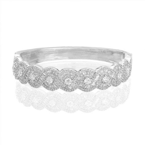 Bling Jewelry Vintage Figure Eight Infinity Baguette CZ Bridal Bracelet Bangle