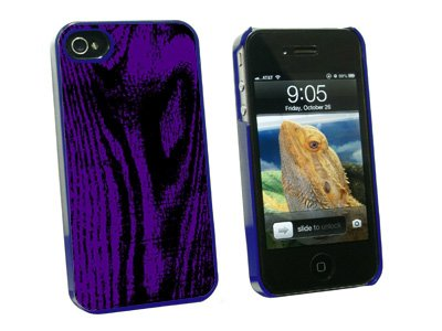 Wood Grain Purple - Snap On Hard Protective Case for Apple iPhone 4 4S - Blue