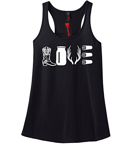 Comical Shirt Ladies Love Hunting Shirt Cute Hunter Country Redneck Black L (Country Clothes compare prices)