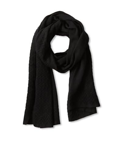 Qi Cashmere Women's Cashmere Chevron Scarf  [Black]