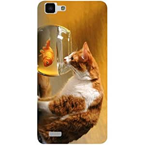 Casotec Cat and Fish Design 3D Printed Hard Back Case Cover for vivo Y27L