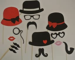Photo Booth Party Props Mustache on a Stick Mad Men Inspired Black and Red Party Props