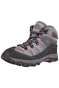Mountain Warehouse Oscar Childrens Boys Girls Suede Durable Hard Outsole Walking Shoes Hiking Boots Bright Pink 2 Child UK