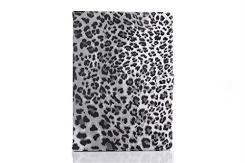 Apple Ipad Air 2 Case Borch Fashion Luxury Multi-Function Protective Leopard Grain Leather Light-Weight Folding Flip Smart Case Cover For For Ipad Air 2 (Leopard Grey)