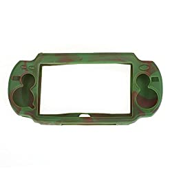 Imported Silicone Protective Skin Case Cover for Sony PlayStation PS Vita - Camo Green