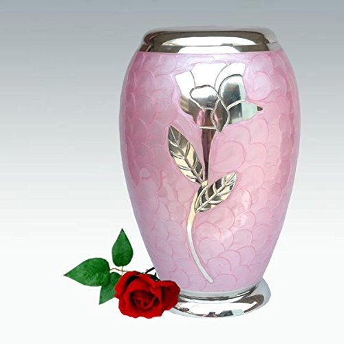 Funeral Urn by Liliane - Cremation Urn for Human or Pet Ashes - Hand Made in Brass & Hand Engraved - Display Urn at Home or in Niche at Columbarium -Talia Model (Pink Enamel with Silver Flower,Adult) (Pink Pet Urns compare prices)