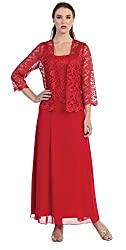 Womens Long Mother of the Bride Plus Size Formal Lace Dress with Jacket