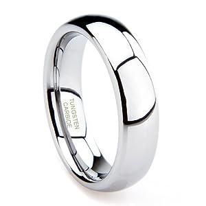 Tungsten Carbide Men's Plain Dome Wedding Band Ring Sz 9.5