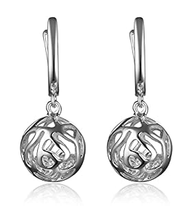 Lanfeny Sterling Silver Dangle Earrings Filigree Ball with Cubic Zirconia