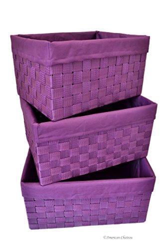 Set 3 Purple Lined Woven Nylon Girl'S Room Home Storage Nesting Basket Bins