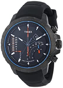 Timex Men's T2P272DH Intelligent Quartz Adventure Series Linear Indicator Chronograph Black Silicone Strap Watch