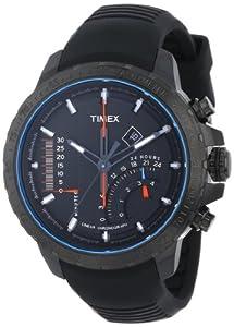 Timex Men's T2P272DH Intelligent Quartz Adventure Series Linear Indicator Chronograph Black Silicone Strap Watch