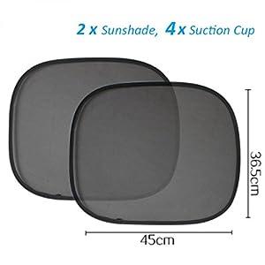 Heemepink 2 x Foldable Car Side Rear Window Sunshade Sun Shades Visor Shield Cover Screen Black Mesh with 4 Suction cups