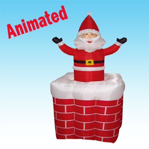 5 Foot Animated Christmas Inflatable Santa Claus Rising From Chimney Outdoor Yard Decoration
