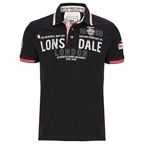 Lonsdale Herren Polo Shirt Sellindge, Farbe:schwarz;Größe:XXL