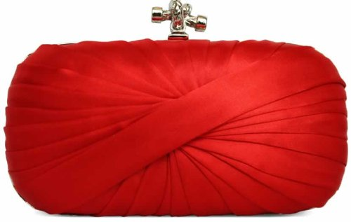 Womens Red Satin Box Knotted Clasp Evening Clutch Bag KCMODE