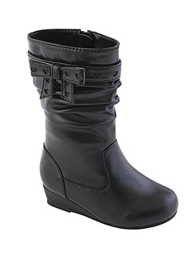 Canyon River Blues Toddler Girls Black Leather Look Fashion Boots with Hearts 6T (Canyon River Blues Shoes compare prices)