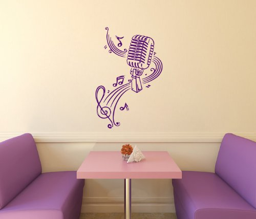 Housewares Vinyl Decal Microphone Music Notes Home Wall Art Decor Removable Stylish Sticker Mural Unique Design For Room front-1047879
