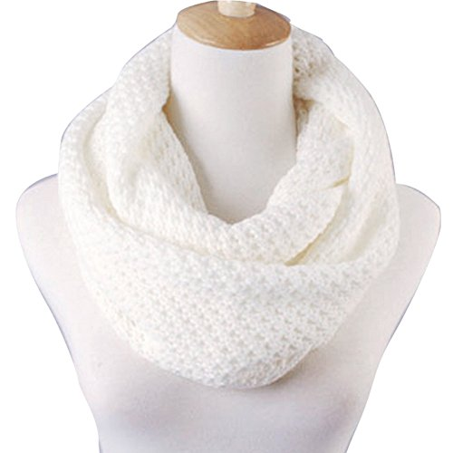Eforstore Unisex Winter Warm Knitted Thicken Hollow Out Neckerchief Knit Infinity Scarf Christmas New Year Birthday Gift For Your Family and Friends Women Men (White)