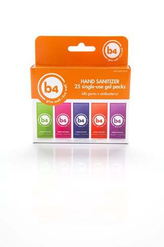 B4 Hand Sanitizer Single Use Gel Packets-25Ct Box
