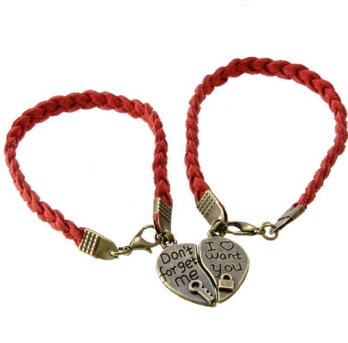 The couple love! Porch with saving heart-shaped pairs luxury velour style Bracelet (Red String)