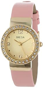 Breda Women's 2368-gold/pink Jennifer Rhinestone Mini Bezel Slim Watch