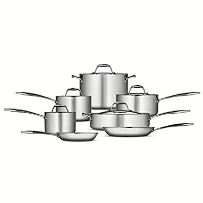 Tramontina 80116/249DS Gourmet 18/10 Stainless Steel Induction-Ready Tri-Ply Clad 12-Piece Cookware Set, 24cm, Stainless