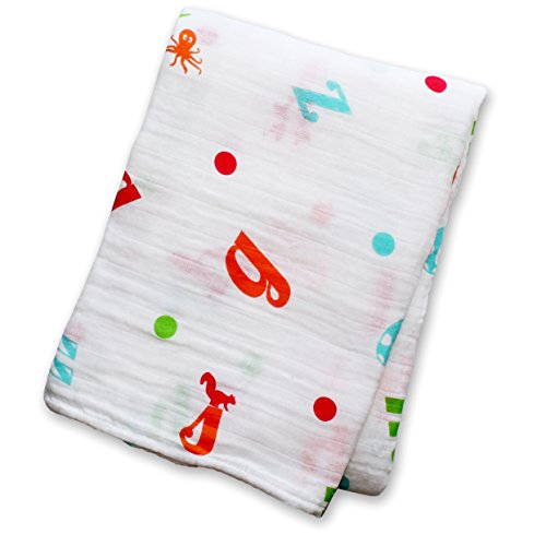 "Lulujo Baby Muslin Cotton Swaddling Blanket, Vegetable Soup, 47"" x 47"""