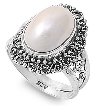 Rhodium Plated Sterling Silver Wedding & Engagement Ring Mabe Pearl Pearl ring 20MM ( Size 7 to 9)
