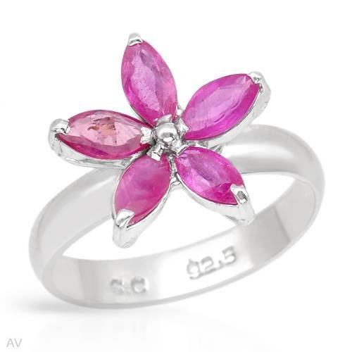 Ring With 1.90ctw Genuine Rubies 925 Sterling silver (Size 8)