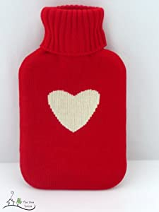 Red Heart Hot Water Bottle With Cover - Full Size