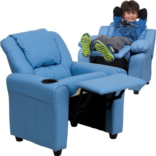 "27"" Contemporary Light Blue Vinyl Kids Recliner w/ Cup Holder & Headrest (1 Chair) - FF-DG-ULT-KID-LTBLUE-GG"
