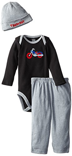 Gerber Baby-Boys Newborn 3 Piece Set Bodysuit Cap And Pant, Motorcycle, 3-6 Months front-250899